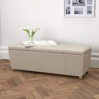 Langley Linen Union Ottoman Dark Stained Leg, Natural Linen Union, One Size