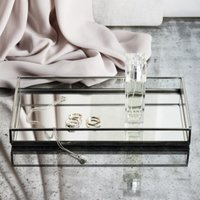 Large Mirrored Glass Tray, Silver, One Size