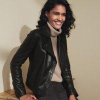 Leather Biker Jacket, Black, 10
