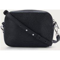 Leather Camera Crossbody Bag, Black, One Size