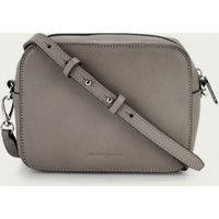 Leather Camera Crossbody Bag, Grey, One Size
