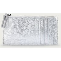 Leather Credit Card Zip Wallet, Silver, One Size