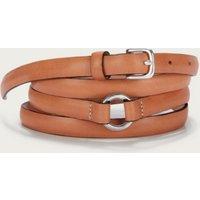Leather Double Wrap Belt, Tan, S
