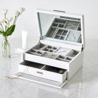 Leather Luxury Jewellery Box, White, One Size