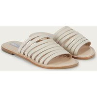 Leather Multi Thin-Strap Flats, Nude, 36