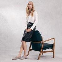 Leather Pencil Midi Skirt , Black, 12