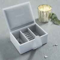 Leather Travel Jewellery Box, White, One Size