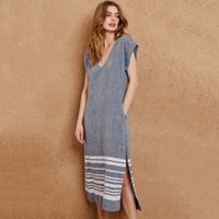 Linen Border Stripe Midi Dress, Indigo, 14