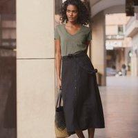 Linen Button-Front Skirt, Black, 8