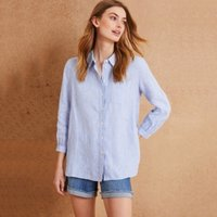 Linen Easy Stripe Shirt, Blue, 12