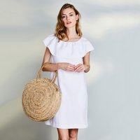Linen Frill Trim Dress, White, 6