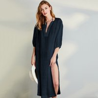 Linen Gauze Cover Up, Navy, Large