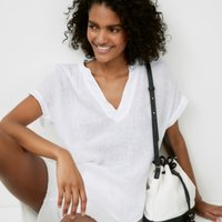 Linen Gauze Short-Sleeve Top, White, 6