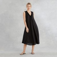 Linen Pintuck V-Neck Dress, Black, Medium