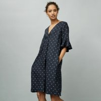 Linen Printed Dress, Navy, 8