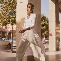 Linen-Rich Long-Line Cardigan, Porcelain, 8