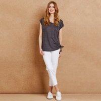 Linen-Rich Sparkle Stripe Ruche Top, Navy, 4