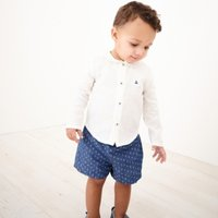 Linen Shirt & Printed Shorts Set, Blue, 3-6mths