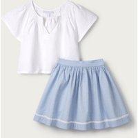 Linen Smocked Top & Skirt Set (1-6yrs), White, 1 1/2-2yrs