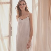 Linen Stitch-Trim Nightie, White, Extra Small