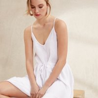 Linen Strappy Midi Sundress, White, 4