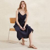 Linen Strappy Midi Sundress, Navy, 8