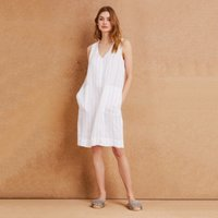 Linen Stripe Shift Dress, Ivory, 4