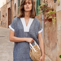 Linen Stripe T-shirt Dress, Indigo, 10