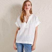 Linen Stripe V-Neck Top, Stripe, 16