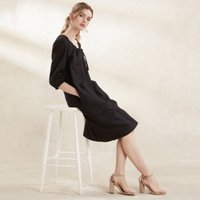 Linen Tie Front Dress , Black, 12