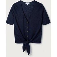 Linen Tie-Front T-Shirt, Navy, 6