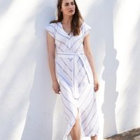 Linen Tie-Waist Chevron Dress, Blue Stripe, 8