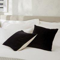 Linen Velvet Cushion, Black, Medium Square