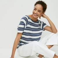 Linen Wide-Stripe T-Shirt, White Navy, 16