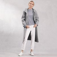 Long Hooded Double-Faced Coat, Grey, Small
