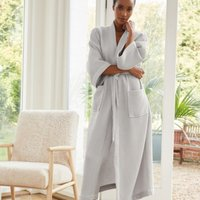 Long Lightweight Waffle Robe, Pale Grey, Extra Small