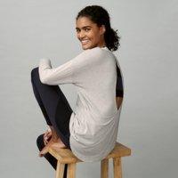 Long-Sleeve Wrap-Back Post-Workout T-Shirt , Grey Marl, Medium