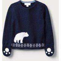 Lumi Bear Mitten Jumper, Blue, 3-6mths