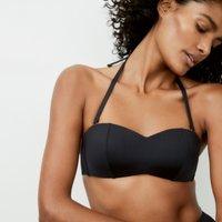 Luxe Bandeau Bikini Top, Black, 10