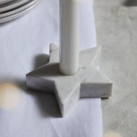 Marble Star Dinner Candle Holder, White, One Size
