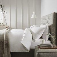 Markham Stripe Flannel Duvet Cover, White Clay, Super King