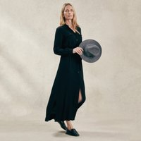 Maxi Shirt Dress, Black, 8