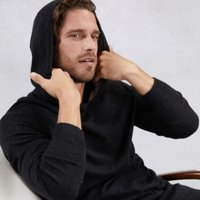 Men's Cotton-Cashmere Hoodie, Dark Charcoal Marl, Large