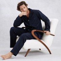 Men's Cotton Piped Pyjama Set, Navy, Medium