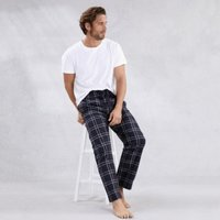 Men's Flannel Check Pyjama Bottoms, Navy, Extra Large