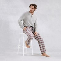 Men's Flannel Novelty Check Pyjama Bottoms, RedGrey, Large