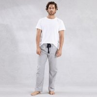 Men's Flannel Stripe Pyjama Bottoms, Grey Stripe, Small