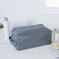 Men's Leather Wash Bag, Grey, One Size