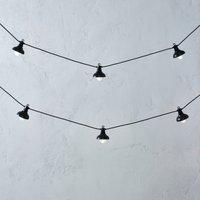 Metal Pendant String Lights - 10 Bulbs, Black, One Size