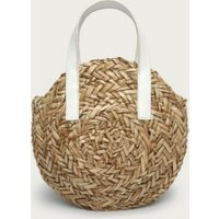 Mini Moon Straw Leather Basket Bag, Natural, One Size
